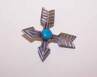 "Vintage STERLING SILVER & Turquoise ""Crossed Arrows"" Pin/Brooch"