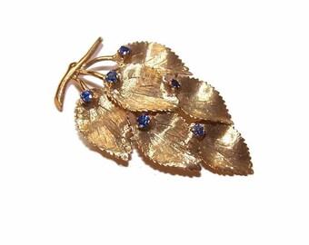 Vintage 18K Gold & Sapphire Pin/Brooch - Falling Leaves