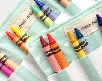 Crayon Rolls . Birthday Party Favor . Set of 20 Crayon Rolls . Custom Fabrics . 8 Crayons Included . Art Party Favors . Wedding Favor