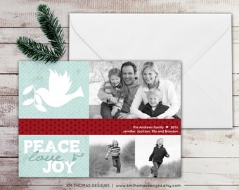 Holiday Photo Card - Printable Photo Christmas Card - Winter Holiday Card - Peace Love Joy - Dove - Red Blue - WH118