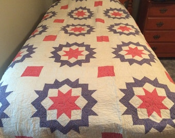 Red, White, Blue STAR Vintage Quilt