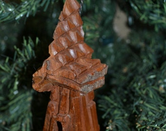 Handmade Christmas Ornament, Cottonwood Bark Carving, Whimsical House, Cottage, Fairy House, Gnome Home, Hand Carved 840