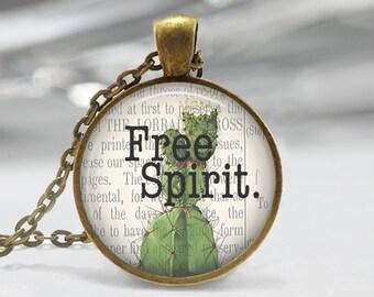 Free Spirit Pendant - Boho Jewelry - Quote  Necklace - Art Pendant - Boho Necklace - Flower pendant-Quote Pendant