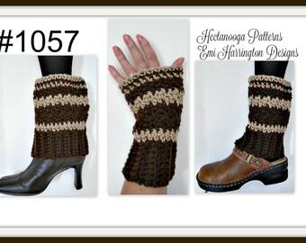 CROCHET PATTERN, Boot Cuffs, Legwarmers, Fingerless Gloves, 2 piece combo, great gift idea, easy pattern, #1057, children and adults