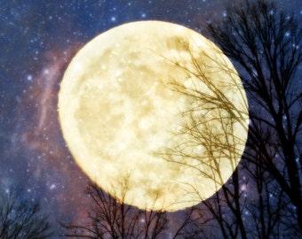 Digital Download Photography...Magical Moon..printable art..night sky..stars..celestial..three jpg files..square..purple...blue