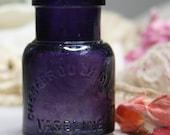 Antique Purple Bottle VASELINE Jar -Chesebrough, New York- Collectible Vintage Bottle- Bathroom Accent D-13