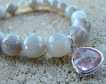 Stretch Bracelet, Beaded Bracelet, Gray, Agate Bracelet, Gemstone Bracelet, Charm Bracelet, Bead, Jewelry, Stacking Bracelet, Pink, Womens