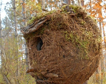 Outdoor Birdhouse, Rustic Mossy bird house with Forest Finds, garden art woodland birdhouse