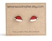 Santa hat earrings - alder laser cut wood earrings - Christmas earrings
