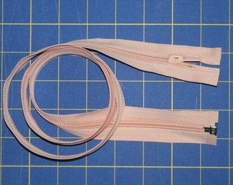 "YKK 36"" Separating Zipper Peach Polyester Coil Metal Pull Tab"