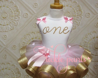 Baby girls 1st Birthday Outfit - One - Pink and gold glitter- Includes top and ruffled tutu - Available in MANY colors