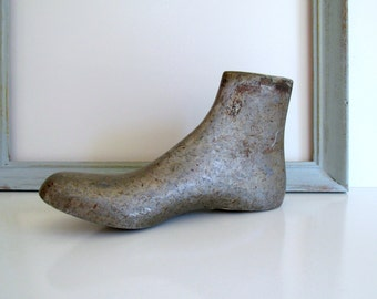 Antique Silver Metal Shoe Last Women's Galoshes Rubber Boot Form Industrial Decor