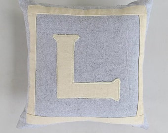 STOCK CLEARANCE 20% OFF- gray and off white monogram pillow. letter L. 12 inch-1 in stock