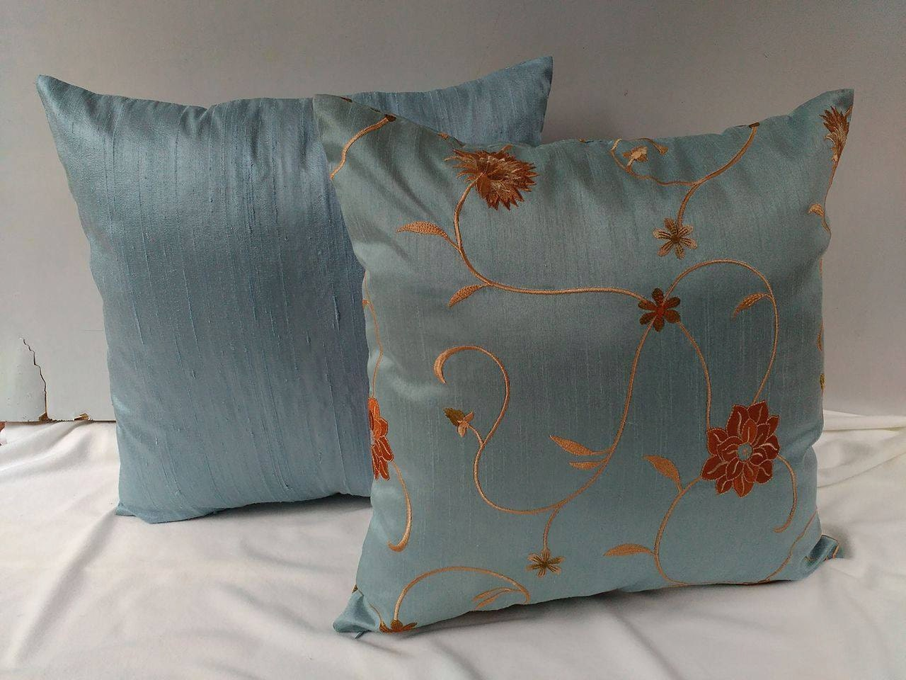ice blue embroidered silk pillow throw by Comfyheavenpillows