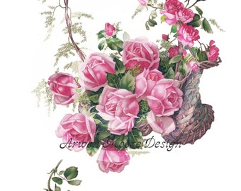 Shabby Vintage Chic Victorian Postcard Pink Roses Basket Digital Download Images For Papercrafts, Transfer, Pillows, Totes, Etc - dd-01