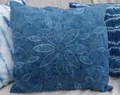 "Indigo Shibori Pillow Cover Natural Dye Blue White  21"" x 21"" Hand Dyed Large Stitched Shibori Flower Pillow Cover Mottled Indigo Pillow"