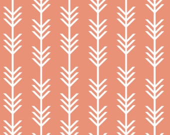 Arrows Fabric - Coral Arrow Stripes Custom Fabric By Ivie Cloth Co - Arrows Cotton Fabric By The Yard with Spoonflower