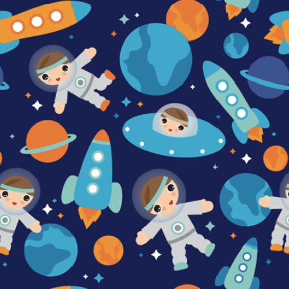 Outer space fabric by yard astronaut outer space rocket for Rocket fabric