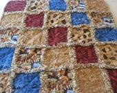 Western Cowboy Horse Rodeo Baby Boy Rag Quilt Blanket 35x35