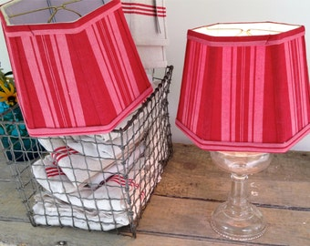 """French Red Ticking Lampshade, Lampshade Red and Pink Vintage Stripe Fabric 6""""x8""""x6"""" Clip Top - French Farmhouse Fab! Love the color!!!"""
