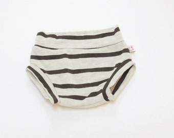 NEW! Grey and Black Stripe Bamboo Baby Bloomer Shorties Unisex