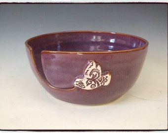Yarn Bowl with Antique Inspired Purple/White Bird in Purple by misunrie