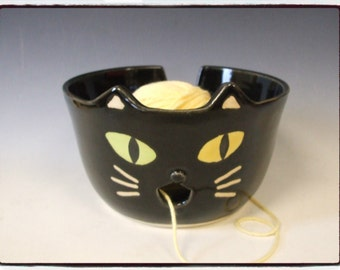 Large Super Cute Odd Eye Black Cat Yarn Bowl by misunrie