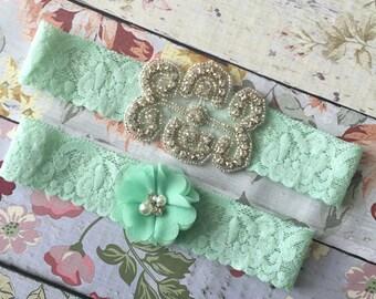 Mint Wedding garter , lace wedding garter , bridal garter set , vintage lace garter , toss garter , mint wedding