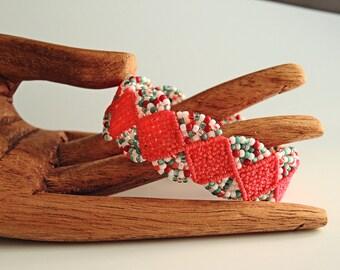 Red and Turquoise Macrame Bracelet - Micro Macrame Bracelet - Handmade Jewelry