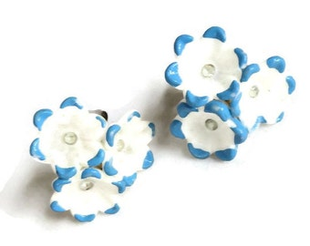 Vintage Celluloid Flowers Earrings Blue & White Enamel and Clear Rhinestones