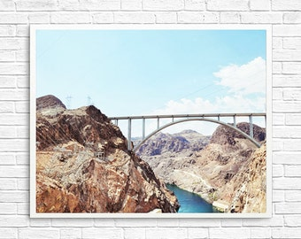 BUY 2 GET 1 FREE California Photography, Hoover Dam Photo, Landscape Photo, Home Decor, Office Decor, Blue, Brown - Hoover Dam