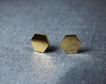 Gold Hex Studs
