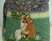 Felted Purse, Felted Handbag, Alpaca Felted Purse, Fox Purse, Red Fox Art