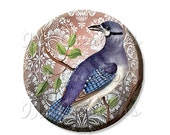 """50% OFF - Pocket Mirror, Magnet or Pinback Button - Wedding Favors, Party themes - 2.25""""- Lovely Lavender Bird MR150"""