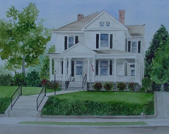 CUSTOM HOME PORTRAIT in Watercolor by Suzanne Churchill, Perfect Realtor Closing Gift, Housewarming or House Leaving Gift, Parent Gift