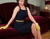 50% OFF SALE - Vintage 1950s Dress - Navy Blue Linen 50s Sundress With Matching Bolero