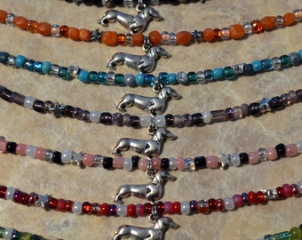 Dachshund Doxie hand designed glass bead anklet ankle bracelet assorted colors