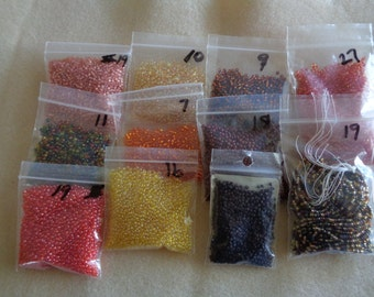 135 Grams Glass Size 11    Seed Beads in Autumn Colors