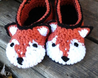 Comfy Crochet Fox Slippers Custom Made to Order.   Any Color and size.