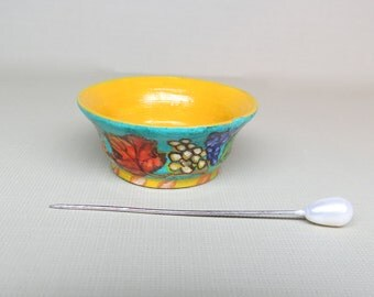 Collector Miniature 1:12 Italian Style Large Bowl Hand Painted Tuscan Hand Painted OOAK