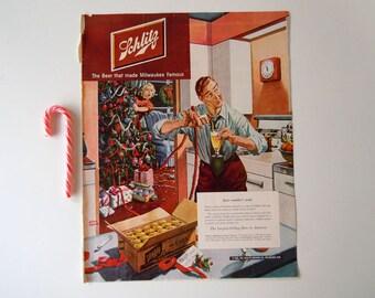 Vintage 1950 Wall Art Christmas Home Decor   Mid Century Schlitz Beer Print Ad   Beer Advertisement