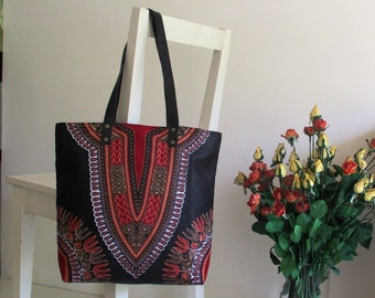 African Ethnic Tribal design Tote / Shopper / Shoulder Bag with Leather Straps