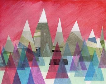 Scandinavian Dreams,  a limited edition print, geometric, mountains, nordic design, triangle art, modern wall art, contemporary art