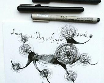 Poodle doodle, original drawing by Andrea Joseph