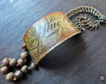 Raconteuse. Rustic artisan bracelet. Mixed media assemblage art.