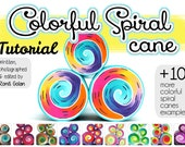 Colorful polymer clay Spiral cane tutorial eBook + color recipes, 10 more spiral cane examples, 36 pages, full instructions by Ronit Golan