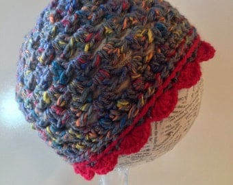beanie, grey and red scalloped beanie