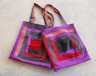 Boho Patchwork Leather Tote  Bag - Pink Purple Red Leather Shoulder Bag