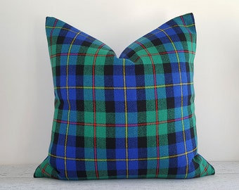 Vibrant Blue Green Plaid Pillows, Green Blue Throw Pillows,  Seasonal Decorative Pillow Covers, Blue Green Black Red Pillows, 20x20, NEW