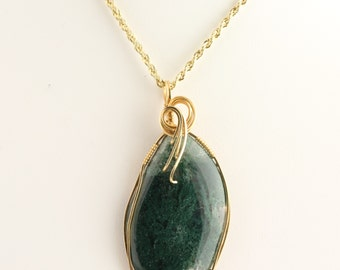 Moss Agate Pendant. Listing 258194532